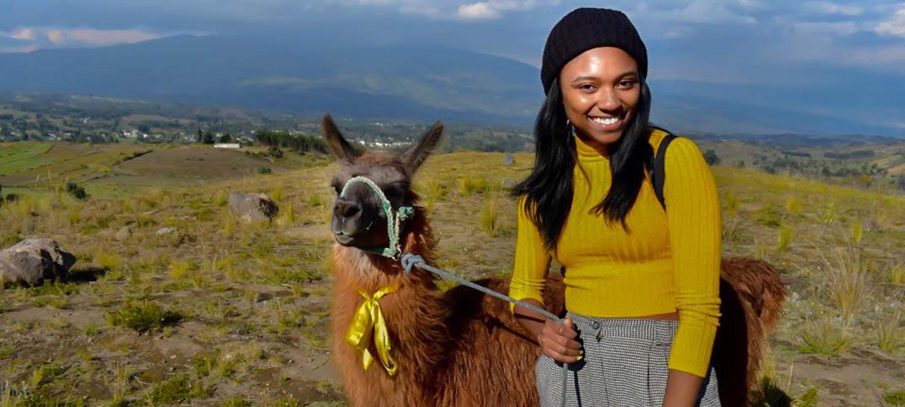 Lauryn with Llamas